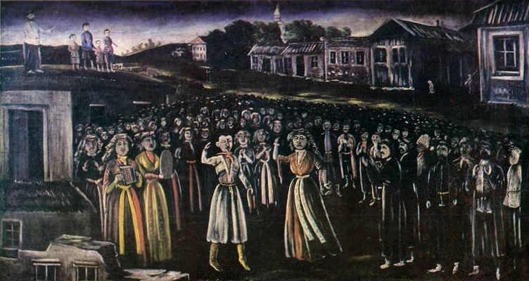 Niko_Pirosmani._''Church_Feast_in_Kartly_(Central_Georgia)''._Oil_on_oil-cloth,_113_x212_cm._The_State_Museum_of_Fine_Arts_of_Georgia,_Tbilisi